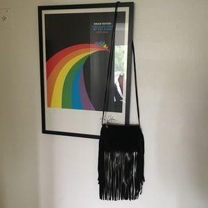 Topshop Black Suede Leather Fringe Crossbody Bag
